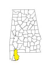 map of Alabama counties with Baldwin County highlighted