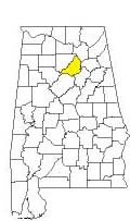 map of Alabama counties with Blount County highlighted