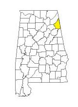 map of Alabama counties with Cherokee County highlighted