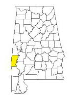 map of Alabama counties with Choctaw County highlighted