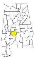 map of Alabama counties with Dallas County highlighted