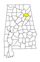 map of Alabama counties with Etowah County highlighted