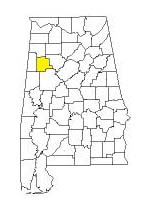 map of Alabama counties with Fayette County highlighted