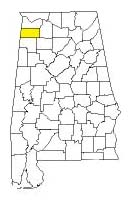 map of Alabama counties with Franklin County highlighted