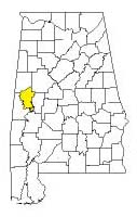 map of Alabama counties with Greene County highlighted