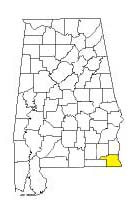 map of Alabama counties with Houston County highlighted