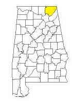 map of Alabama counties with Jackson County highlighted