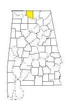 map of Alabama counties with Limestone County highlighted