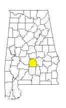 map of Alabama counties with Lowndes County highlighted