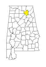 map of Alabama counties with Marshall County highlighted