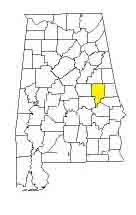 map of Alabama counties with Tallapoosa County highlighted